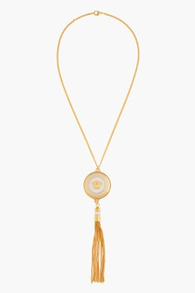 VERSACE Gold logo medallion and tassel Necklace Metal - $575.00