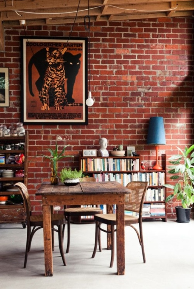 brick wall dining room
