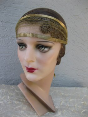 1920s Flapper Art Deco Gold Lame Tulle Headband Headpiece Bandeau - $360.12