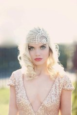 Lujon - Crystal Art Deco 1920's Tulle Headpiece - $493.88 CAD