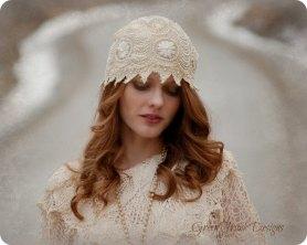 1920s Style Flapper Wedding Cap Veil - $385.84