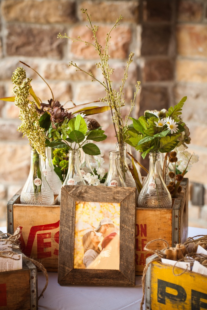 floral wedding decor with bottles11