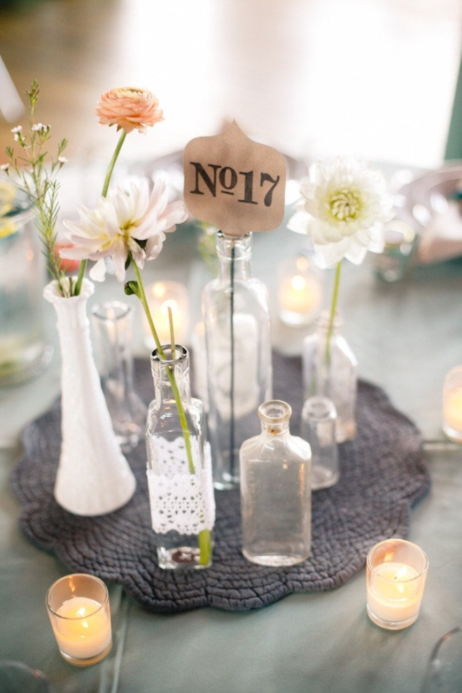 floral wedding decor with bottles12