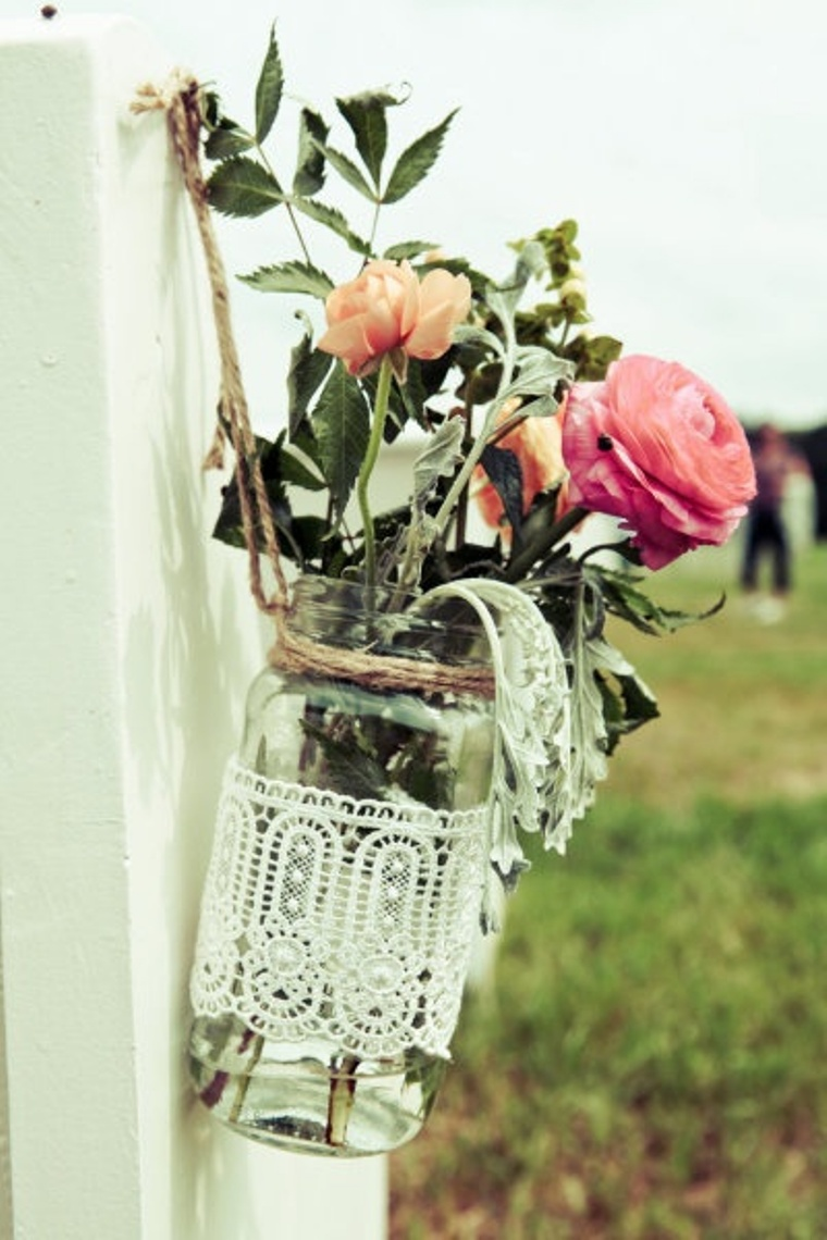 floral wedding decor with bottles6