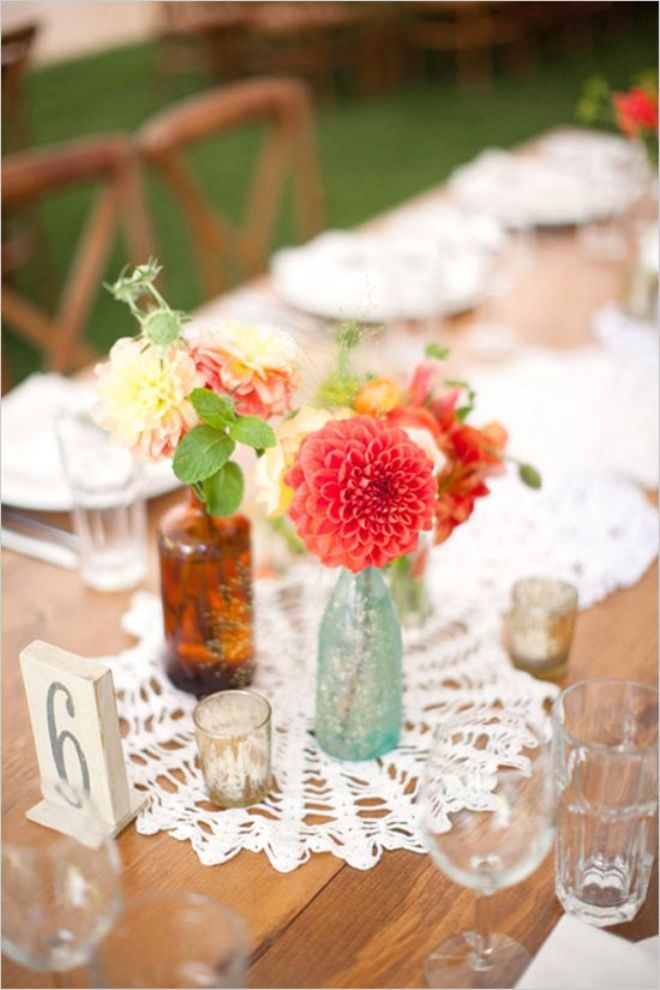 floral wedding decor with bottles7