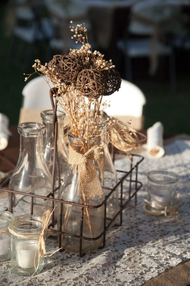 floral wedding decor with bottles9