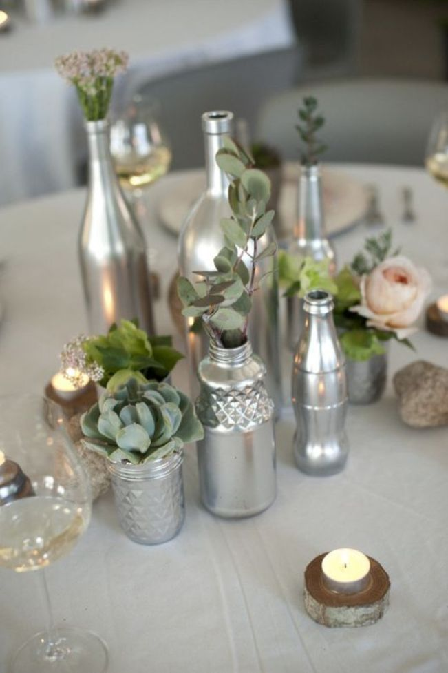 floral wedding decor with silver bottles