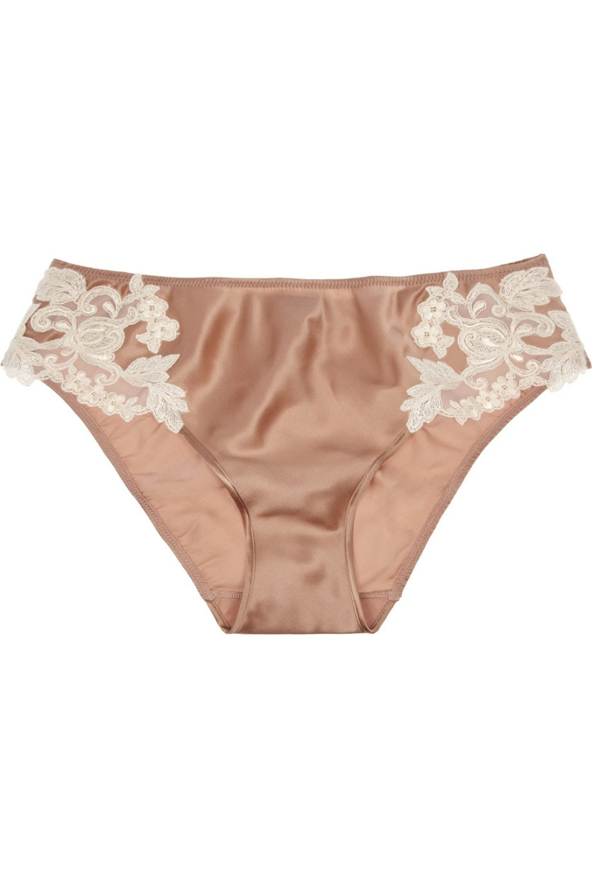 La Perla Maison embroidered tulle and silk-blend briefs