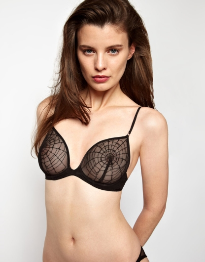Kallisti by Marios Schwab for ASOS Inc Spider Web Embroidered Underwired Bra