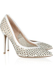 Valentino Embellished satin, leather and mesh pumps