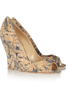 Oscar de la Renta Romana watercolor-effect cork wedges
