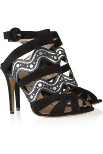 Nicholas Kirkwood Suede and printed faux-leather sandals