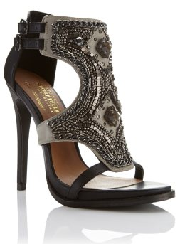 Miss Selfridge Petra Leather Embellished Heel