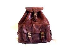 70's Vintage Brown Leather Backpack