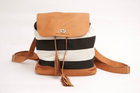 Black White Striped Backpack