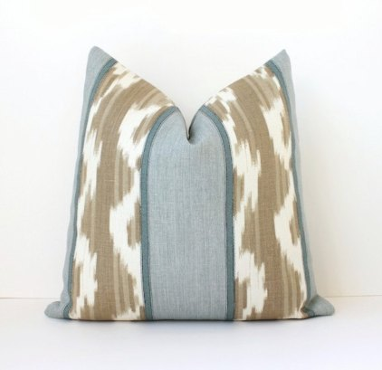 Striped Blue Ikat Pillow Cover