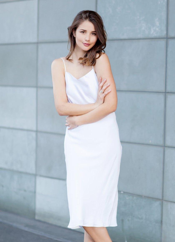 harper and harley white slip dress