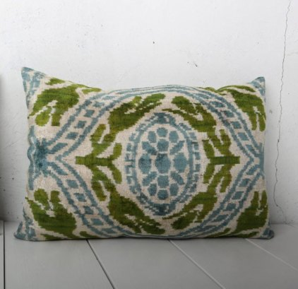 Blue Green Velvet Ikat Cushion