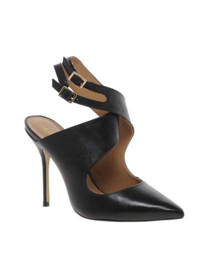 River Island Black Ox Cross Over Heeled Court Shoes