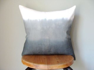 Grey Ombre Dip Dye Pillow