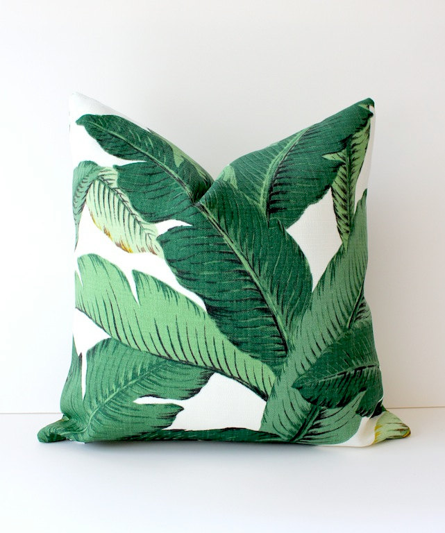 Palm Leaves Print Pillow