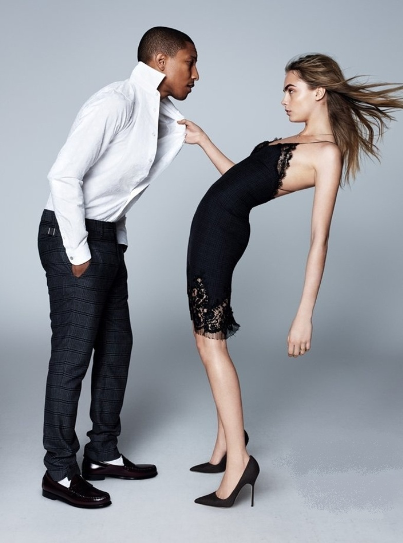 pharell and cara delevingne in slip dress
