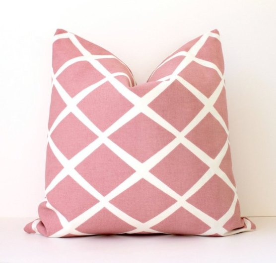 Pink & White Diamond Stripe Pillow