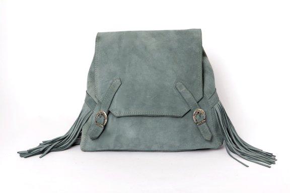 Suede Blue Backpack With Fringe