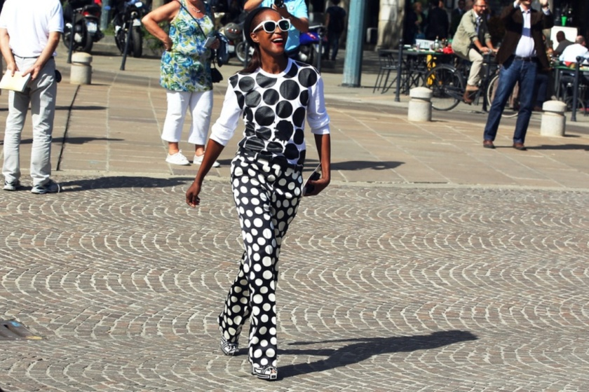 black white polka dots in milan