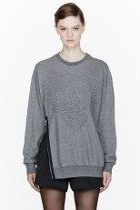 3.1 Phillip Lim Heather grey Oversize Quilted Phoenix Sweatshirt
