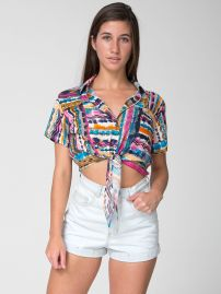 American Apparel Rayon Mid-Length Tie-Up Blouse