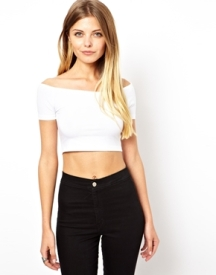 ASOS 90's Crop Top with Off the Shoulder Detail
