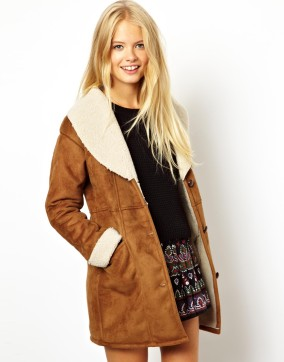 ASOS Suedette Tan Vintage Coat With Borg Lining