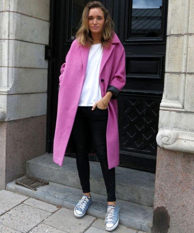 converse pink coat