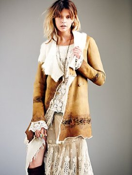 Free People Hand Painted Suede Coat
