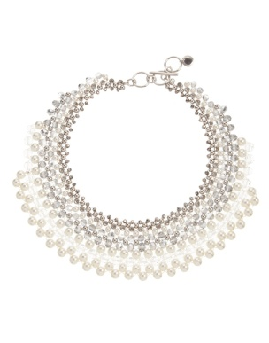 French Connection Woven Pearl & Bead Collar