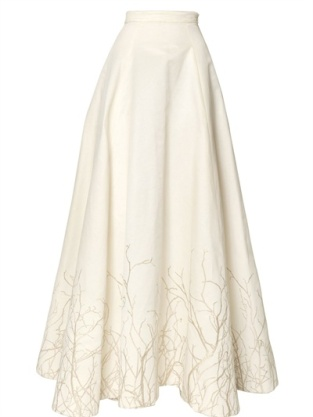 Gareth Pugh EMBROIDERED SILK COTTON FAILLE SKIRT