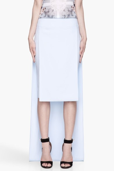 Givenchy Baby blue Cady Tubino layered train skirt
