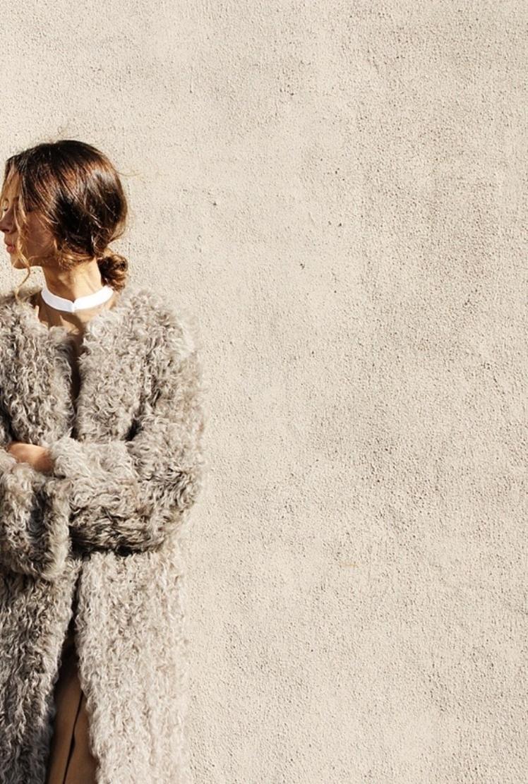 grey sheepskin coat