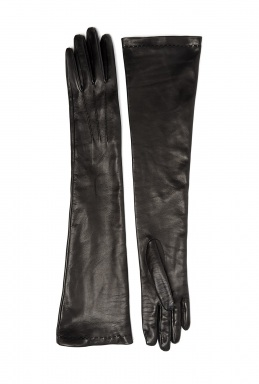 Jane Carr Black Long Sleeve Leather Gloves
