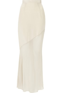 Kain Maren washed-silk and chiffon maxi skirt