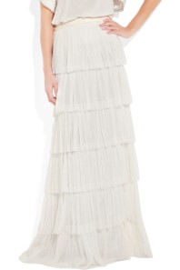 Lanvin Silk-blend tiered maxi skirt