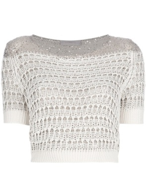 MARZIALI crochet knit cropped top
