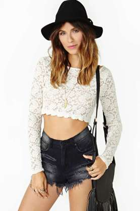 Nasty Gal Lennox Lace Crop Top