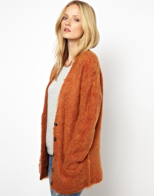 Selected Coleen Fluffy Knitted Cardigan in Oversized Fit