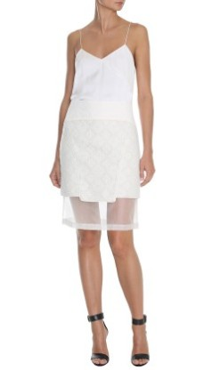 Tibi Embroidered Paneled Skirt