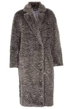 Topshop Curly Faux Fur Long Coat