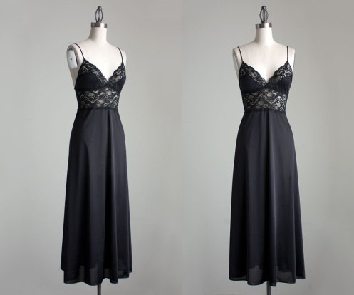 Black Lace Maxi Slip Dress 1980s Vintage