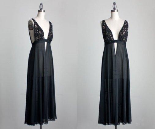 80s Vintage Black Lace Plunging Neckline Sheer Maxi Slip Dress
