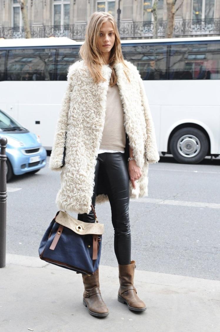 white sheepskin coat